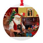 Santa's Dachshud (LH) Round Ornament