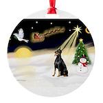 Night Flight/Dobie #1 Round Ornament