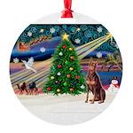 XmasMagic/Dobie (red) Round Ornament