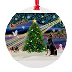 XmasMagic/Dobie Round Ornament