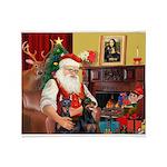 Santa's 2 Dobies Throw Blanket