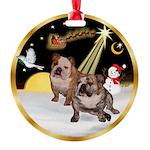 Night Flight/2 Eng Bulldogs Round Ornament