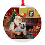 Santa's English Bulldog Round Ornament