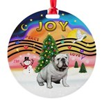 XMusic2-English Bulldog (W) Round Ornament