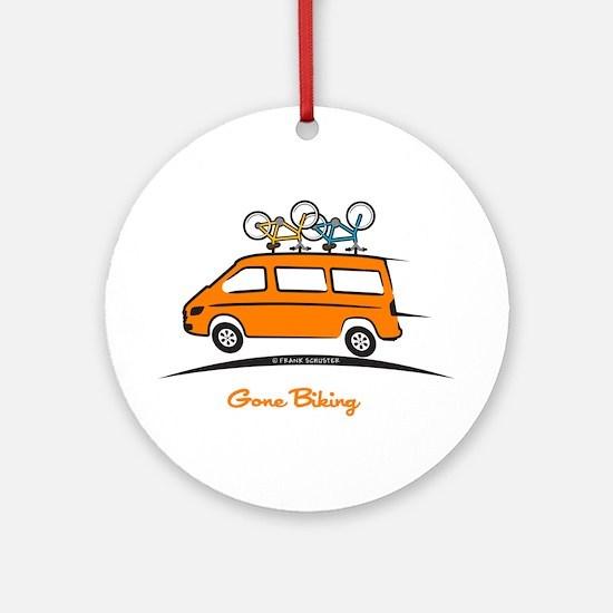 Mercedes Sprinter Gone Biking Round Ornament
