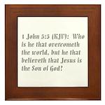 1 John 5:5 Text Gifts Framed Tile