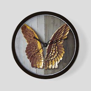 Gold Angel Wings 1 Wall Clock