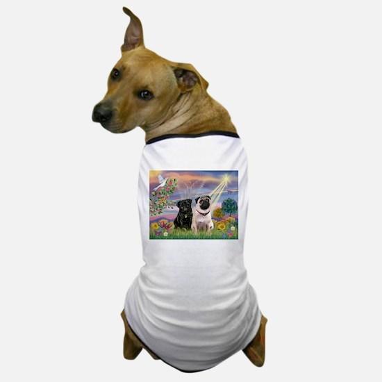 Cloud Angel & 2 Pugs Dog T-Shirt