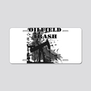 Oilfield Oil Splash Aluminum License Plate