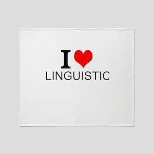 I Love Linguistics Throw Blanket