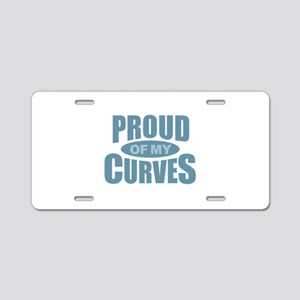 Proud of My Curves - Blue Aluminum License Plate