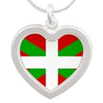 Basque Flag Silver Heart Necklace