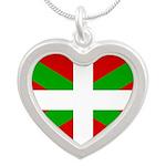 Basque Flag Silver Heart Necklace