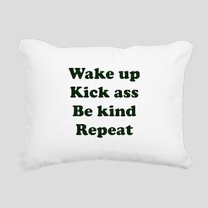 Wake Up Kick Ass Be Kind Rectangular Canvas Pillow