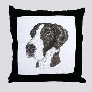 Nat Ear Mantle Great Dane in dots Throw Pillow