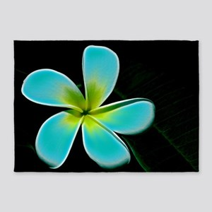 Turquoise Yellow White Flower 5'x7'Area Rug