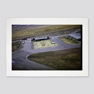 small airport view from a flying pl 5'x7'Area Rug