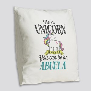 Unicorn ABUELA Burlap Throw Pillow