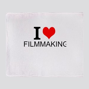 I Love Filmmaking Throw Blanket