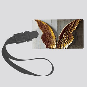 Gold Angel Wings W Large Luggage Tag