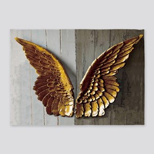 Gold Angel Wings W 5'x7'Area Rug