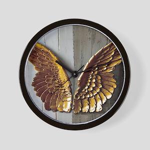 Gold Angel Wings W Wall Clock