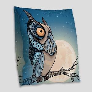 Night Owl Burlap Throw Pillow