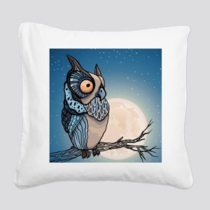 Night Owl Square Canvas Pillow