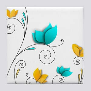 Elegant Flowers Tile Coaster