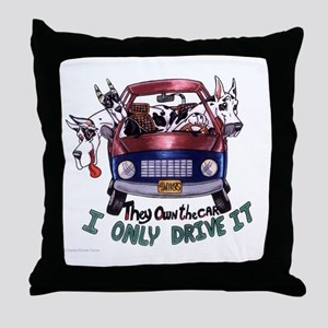 They Own The Car Great Dane Throw Pillow