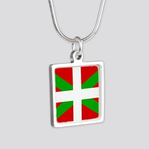 Basque Flag Silver Square Necklace