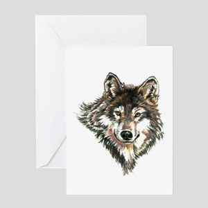 Watercolor Wolf Head Logo art Greeting Cards