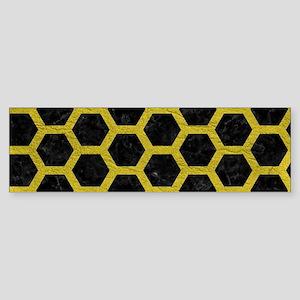 HEXAGON2 BLACK MARBLE & YELLOW LE Sticker (Bumper)