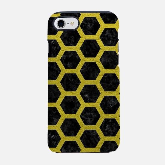 HEXAGON2 BLACK MARBLE & YELL iPhone 8/7 Tough Case