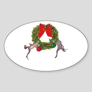 Christmas Froglets Oval Sticker