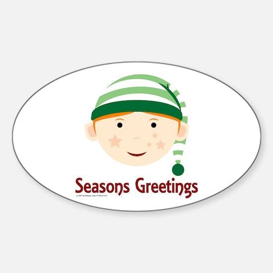 Seasons Greetings Elf Oval Decal