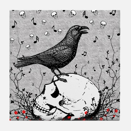 Raven Sings Song of Death on Skull Il Tile Coaster
