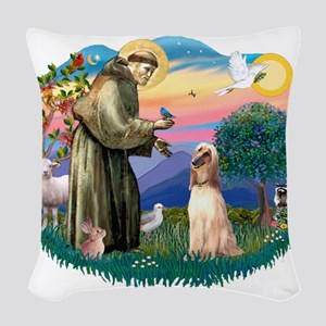 St.Francis #2/ Afghan Hound Woven Throw Pillow