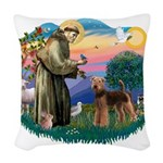 St Francis #2/ Airedale Woven Throw Pillow