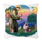 St.Francis #2/ Aus Shep (merl Woven Throw Pillow
