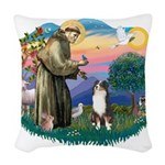 St.Francis #2/ Aus Shep (tri) Woven Throw Pillow