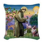 St Francis & Aussie Woven Throw Pillow