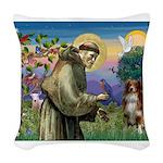 St Francis/ Aus Shep Woven Throw Pillow
