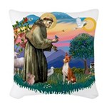St Francis #2/ Basenji Woven Throw Pillow