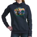 St Francis #2/ Basenji Women's Hooded Sweatshirt