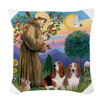SaintFrancis-Two Bassets Woven Throw Pillow