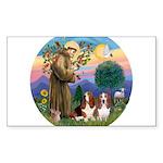 SaintFrancis-Two Bassets Sticker (Rectangle)