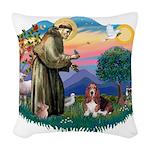 St.Francis #2/ Basset Hound Woven Throw Pillow