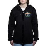 St.Francis #2/ Basset Hound Women's Zip Hoodie