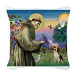 St Francis/Beagle Woven Throw Pillow